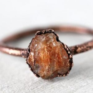 Sunstone Ring – Electroformed Crystal Ring – Raw Stone Ring | Natural genuine Sunstone rings, simple unique handcrafted gemstone rings. #rings #jewelry #shopping #gift #handmade #fashion #style #affiliate #ad
