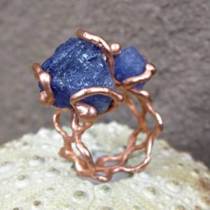 Shop Tanzanite Rings! Raw tanzanite braided copper electroformed ring, adjustable ring, december birthstone ring | Natural genuine Tanzanite rings, simple unique handcrafted gemstone rings. #rings #jewelry #shopping #gift #handmade #fashion #style #affiliate #ad