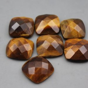 Shop Tiger Eye Cabochons! Tiger Eye Cushion Cut Faceted Shaped Cabochon | Natural genuine stones & crystals in various shapes & sizes. Buy raw cut, tumbled, or polished gemstones for making jewelry or crystal healing energy vibration raising reiki stones. #crystals #gemstones #crystalhealing #crystalsandgemstones #energyhealing #affiliate #ad