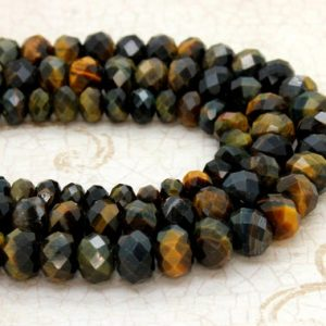 Shop Tiger Eye Faceted Beads! Natural Mixed Tiger Eye, Tiger's Eye Faceted Rondelle Loose Gemstone Stone Beads | Natural genuine faceted Tiger Eye beads for beading and jewelry making.  #jewelry #beads #beadedjewelry #diyjewelry #jewelrymaking #beadstore #beading #affiliate #ad