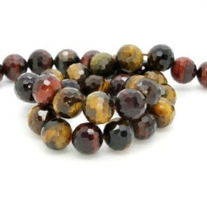 Shop Tiger Eye Faceted Beads! Natural Red Tiger's Eye, Red Tiger's Eye Faceted Sphere Ball Round Natural Gemstone Beads Stones | Natural genuine faceted Tiger Eye beads for beading and jewelry making.  #jewelry #beads #beadedjewelry #diyjewelry #jewelrymaking #beadstore #beading #affiliate #ad