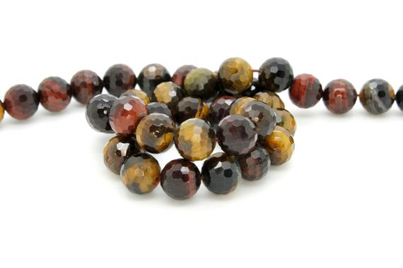 Natural Red Tiger's Eye, Red Tiger's Eye Faceted Sphere Ball Round Natural Gemstone Beads Stones