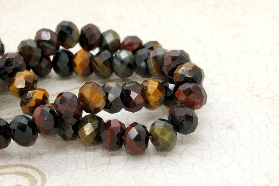 Natural Yellow Tiger Eye, Tiger's Eye Faceted Rondelle Loose Gemstone Stone Beads