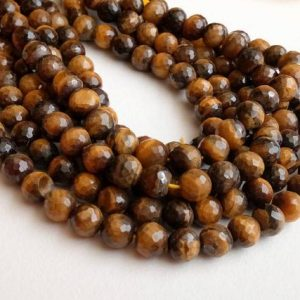 Shop Tiger Eye Faceted Beads! WHOLESALE 5 Strands 7mm Tigers Eye Faceted Round Beads, Natural Tigers Eye Beads, Tigers Eye Necklace – DPA2 | Natural genuine faceted Tiger Eye beads for beading and jewelry making.  #jewelry #beads #beadedjewelry #diyjewelry #jewelrymaking #beadstore #beading #affiliate #ad
