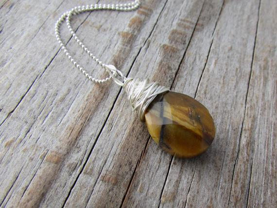 Tiger Eye Pendant, Tigers Eye, Wire Wrapped, Faceted Stone Necklace