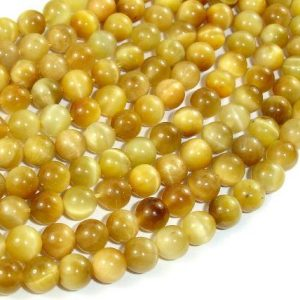 Shop Tiger Eye Round Beads! Golden Tiger Eye, 6mm(6.6mm) Round Beads, 15.5 Inch, Full strand, Approx 60 beads, Hole 1 mm (426054031) | Natural genuine round Tiger Eye beads for beading and jewelry making.  #jewelry #beads #beadedjewelry #diyjewelry #jewelrymaking #beadstore #beading #affiliate #ad