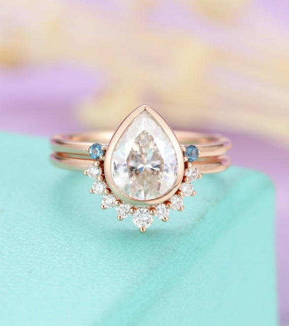 Pear Shaped Moissanite Engagement Ring Set Rose Gold, Curved London Blue Topaz  And Diamond Wedding Band For Women , Anniversary Jewelry