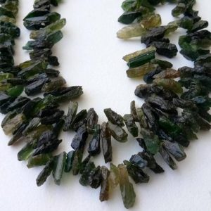Shop Tourmaline Chip & Nugget Beads! 13 Inch Raw Green Tourmaline Stones, 8-13mm Natural Loose Raw Gemstone, Green Tourmaline Rough Beads, Green Tourmaline Rough Nuggets – Dvp39 | Natural genuine chip Tourmaline beads for beading and jewelry making.  #jewelry #beads #beadedjewelry #diyjewelry #jewelrymaking #beadstore #beading #affiliate #ad