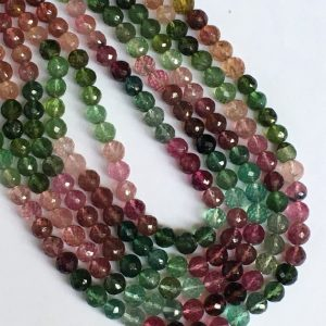 Shop Tourmaline Faceted Beads! 14 inch Finest quality RARE GEMSTONE AAA multi tourmaline perfect round faceted beads | Natural genuine faceted Tourmaline beads for beading and jewelry making.  #jewelry #beads #beadedjewelry #diyjewelry #jewelrymaking #beadstore #beading #affiliate #ad