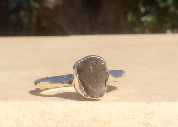 Raw Stone Silver Ring, Rough Natural Pink Tourmaline Silver Ring, Mothers Day Gift