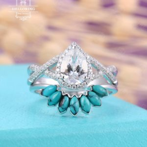 Vintage pear Moissanite Engagement ring set, White gold, curved turquoise Wedding band women,halo set,twisted band Anniversary gift | Natural genuine Turquoise rings, simple unique alternative gemstone engagement rings. #rings #jewelry #bridal #wedding #jewelryaccessories #engagementrings #weddingideas #affiliate #ad