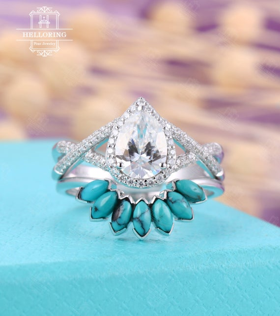 Vintage Pear Moissanite Engagement Ring Set, White Gold, Curved Turquoise Wedding Band Women,halo Set,twisted Band Anniversary Gift