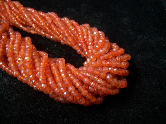 3.5mm Carnelian Rondelle Beads Faceted Gemstone, Orange Carnelian Faceted Beads Rondelle Gemstone, Carnelian Beads Rondelle Faceted Gemstone