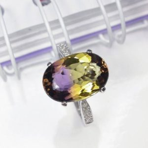 4.25 ct Natural bicolor ametrine ring sterling silver wedding ring. | Natural genuine Ametrine rings, simple unique alternative gemstone engagement rings. #rings #jewelry #bridal #wedding #jewelryaccessories #engagementrings #weddingideas #affiliate #ad