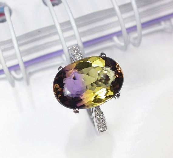 4.25 Ct Natural Bicolor Ametrine Ring Sterling Silver Wedding Ring.