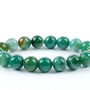 10mm Green Banded Agate Bracelet, Green Banded Agate Bracelets 10 mm, Green Banded Agate Bracelets, Green Banded Agate Bead Bracelet | Natural genuine Gemstone bracelets. Buy crystal jewelry, handmade handcrafted artisan jewelry for women.  Unique handmade gift ideas. #jewelry #beadedbracelets #beadedjewelry #gift #shopping #handmadejewelry #fashion #style #product #bracelets #affiliate #ad
