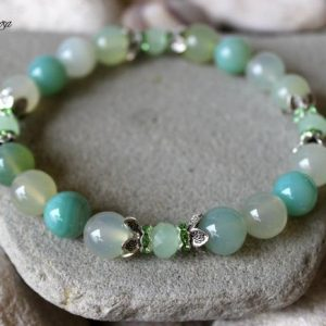 Shop Agate Bracelets! Agate Bracelet, 10mm Agate Bracelet, Light Green Agate Bracelet, Agate Wrist Mala, Pastel Green Bracelet, Agate Stretch Bracelet, Agate | Natural genuine Agate bracelets. Buy crystal jewelry, handmade handcrafted artisan jewelry for women.  Unique handmade gift ideas. #jewelry #beadedbracelets #beadedjewelry #gift #shopping #handmadejewelry #fashion #style #product #bracelets #affiliate #ad