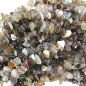 "Shop Agate Chip & Nugget Beads! 5-10mm Natural Botswana Agate Chip Beads 34"" Strand 32383 