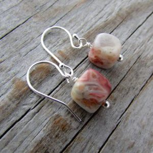 Shop Agate Earrings! Crazy Lace Agate Earrings, semi precious gemstone cubes, dangle earrings, petite agate earrings | Natural genuine Agate earrings. Buy crystal jewelry, handmade handcrafted artisan jewelry for women.  Unique handmade gift ideas. #jewelry #beadedearrings #beadedjewelry #gift #shopping #handmadejewelry #fashion #style #product #earrings #affiliate #ad