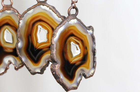 Agate Slice Necklace - Long Copper And Stone Necklace - Copper Edged Stone