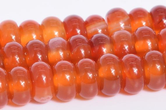 Deep Orange Red Striped Agate Beads Grade Aaa Natural Gemstone Rondelle Loose Beads 6x3mm 8x4mm Bulk Lot Options