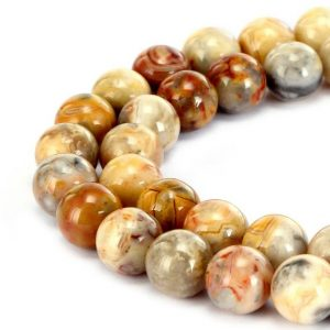 """Shop Crazy Lace Agate Beads! 2.0mm Hole Yellow Crazy Lace Agate Smooth Round Beads 6mm 8mm 10mm 15.5"""" Strand 