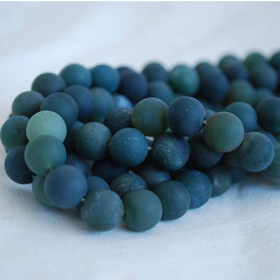 """High Quality Grade A Natural Green Moss Agate - Matte - Semi-precious Gemstone Round Beads - 4mm, 6mm, 8mm, 10mm Sizes - Approx 15.5"""" Strand"""
