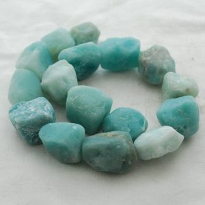 "Shop Amazonite Chip & Nugget Beads! Raw Natural Amazonite Semi-precious Gemstone Chunky Nugget Beads – Approx 18mm – 22mm X 22mm – 25mm – Approx 15"" Long Strand 