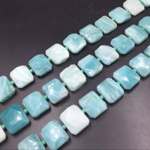 "Shop Amazonite Bead Shapes! Faceted Amazonite Slice Beads Natural Green Amazonite Rectangle Beads Wholesale Loose Gemstone Beads Slab Slice Supplies 15.5"" Full Strand 