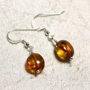 Shop Amber Earrings! Earrings Silver 925 and amber natural Olives 9-10mm | Natural genuine Amber earrings. Buy crystal jewelry, handmade handcrafted artisan jewelry for women.  Unique handmade gift ideas. #jewelry #beadedearrings #beadedjewelry #gift #shopping #handmadejewelry #fashion #style #product #earrings #affiliate #ad