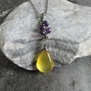 Shop Amethyst Necklaces! Yellow Chalcedony Amethyst Oxidized Sterling Silver Necklace, Vintage Vine Style, Rustic Wedding Jewerly, Brides Gift | Natural genuine Amethyst necklaces. Buy handcrafted artisan wedding jewelry.  Unique handmade bridal jewelry gift ideas. #jewelry #beadednecklaces #gift #crystaljewelry #shopping #handmadejewelry #wedding #bridal #necklaces #affiliate #ad