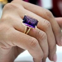Statement Ring, cocktail Ring, amethyst Ring, gold Ring, vintage Ring, purple Ring, rectangle Ring, large Ring, bridal Ring | Natural genuine Gemstone jewelry. Buy handcrafted artisan wedding jewelry.  Unique handmade bridal jewelry gift ideas. #jewelry #beadedjewelry #gift #crystaljewelry #shopping #handmadejewelry #wedding #bridal #jewelry #affiliate #ad