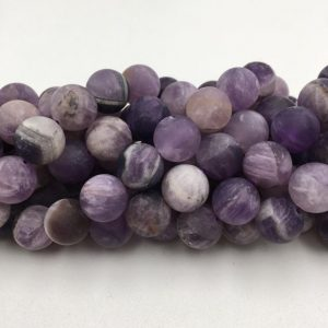 "Teeth Amethyst Matte Round Beads 4mm 6mm 8mm 10mm 12mm 15.5"" Strand 