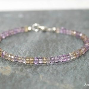 Ametrine Bracelet, Ametrine Jewelry, Multi Color, , Minimalist, Layering, Ombre, Gemstone Jewelry | Natural genuine Ametrine jewelry. Buy crystal jewelry, handmade handcrafted artisan jewelry for women.  Unique handmade gift ideas. #jewelry #beadedjewelry #beadedjewelry #gift #shopping #handmadejewelry #fashion #style #product #jewelry #affiliate #ad