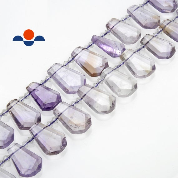 """Ametrine Graduated Faceted Trapezoid Beads 15x20 To 18x27mm 15.5"""" Strand"""