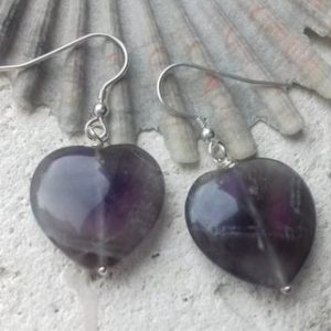 Shop Ametrine Earrings! Ametrine Heart Shaped Sterling Silver Hook Earrings | Natural genuine Ametrine earrings. Buy crystal jewelry, handmade handcrafted artisan jewelry for women.  Unique handmade gift ideas. #jewelry #beadedearrings #beadedjewelry #gift #shopping #handmadejewelry #fashion #style #product #earrings #affiliate #ad