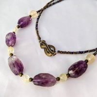Raw Crystal Amethyst, Citrine, & Ametrine Necklace. Purple And Yellow Gemstone Jewelry. Long Length, Perfect 4 Layering. February Birthstone | Natural genuine Gemstone jewelry. Buy crystal jewelry, handmade handcrafted artisan jewelry for women.  Unique handmade gift ideas. #jewelry #beadedjewelry #beadedjewelry #gift #shopping #handmadejewelry #fashion #style #product #jewelry #affiliate #ad