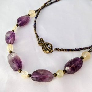 Shop Ametrine Necklaces! Raw Crystal Amethyst, Citrine, & Ametrine Necklace. Purple And Yellow Gemstone Jewelry. Long Length, Perfect 4 Layering. February Birthstone | Natural genuine Ametrine necklaces. Buy crystal jewelry, handmade handcrafted artisan jewelry for women.  Unique handmade gift ideas. #jewelry #beadednecklaces #beadedjewelry #gift #shopping #handmadejewelry #fashion #style #product #necklaces #affiliate #ad