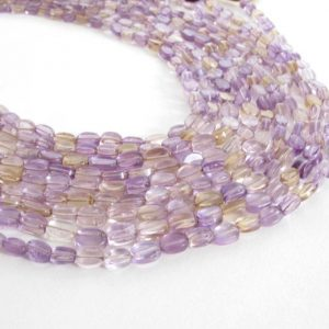 Ametrine Flat Oval Beads, Amethyst Beads, Citrine Beads, Half Strand 6mm – 8mm Oval Beads, Lilac Amethyst, Lemon Yellow Citrine, Ametrine200 | Natural genuine other-shape Gemstone beads for beading and jewelry making.  #jewelry #beads #beadedjewelry #diyjewelry #jewelrymaking #beadstore #beading #affiliate #ad