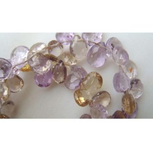 Shop Ametrine Bead Shapes! 11x6mm To 7x5mm Ametrine Faceted Pear Shape Briolettes , 4 Inch Strand Of Ametrine Faceted Pear For Jewelry | Natural genuine other-shape Ametrine beads for beading and jewelry making.  #jewelry #beads #beadedjewelry #diyjewelry #jewelrymaking #beadstore #beading #affiliate #ad