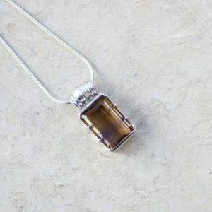 Shop Ametrine Pendants! Rectangle Ametrine Sterling Silver Pendant / / Ametrine Crystal And Sterling Silver / / Citrine And Amethyst Pendant | Natural genuine Ametrine pendants. Buy crystal jewelry, handmade handcrafted artisan jewelry for women.  Unique handmade gift ideas. #jewelry #beadedpendants #beadedjewelry #gift #shopping #handmadejewelry #fashion #style #product #pendants #affiliate #ad