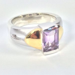 Shop Ametrine Rings! Ametrine Silver Ring // 925 Sterling Silver with Gold Vermeil // Matte Rhodium Finish // Natural Ametrine Ring // Size 7 | Natural genuine Ametrine rings, simple unique handcrafted gemstone rings. #rings #jewelry #shopping #gift #handmade #fashion #style #affiliate #ad
