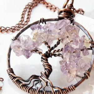 Shop Ametrine Necklaces! Ametrine Tree of Life Necklace, Copper wire wrapped light purple yellow gemstone talisman pendant, holiday gift for her, Mother's day gift | Natural genuine Ametrine necklaces. Buy crystal jewelry, handmade handcrafted artisan jewelry for women.  Unique handmade gift ideas. #jewelry #beadednecklaces #beadedjewelry #gift #shopping #handmadejewelry #fashion #style #product #necklaces #affiliate #ad