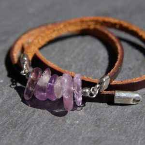 Ametrine Triple Leather Bracelet ∞ Women Boho Bracelet, Mens  Zodiac Jewelry, Unisex Healing Chakra Bracelet  ∞ Spiritual Beads Jewelry Gift | Natural genuine Gemstone bracelets. Buy handcrafted artisan men's jewelry, gifts for men.  Unique handmade mens fashion accessories. #jewelry #beadedbracelets #beadedjewelry #shopping #gift #handmadejewelry #bracelets #affiliate #ad