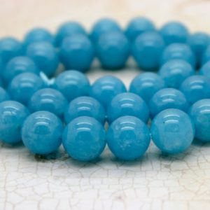 Shop Angelite Beads! Angelite Smooth Round Gemstone Beads 4mm 6mm 8mm 10mm (full Strand) | Natural genuine round Angelite beads for beading and jewelry making.  #jewelry #beads #beadedjewelry #diyjewelry #jewelrymaking #beadstore #beading #affiliate #ad