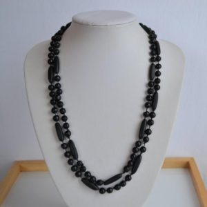 Shop Jet Necklaces! Antique Victorian Hand Carved Black Whitby Jet Hand Knotted Beaded Mourning Necklace | Natural genuine Jet necklaces. Buy crystal jewelry, handmade handcrafted artisan jewelry for women.  Unique handmade gift ideas. #jewelry #beadednecklaces #beadedjewelry #gift #shopping #handmadejewelry #fashion #style #product #necklaces #affiliate #ad