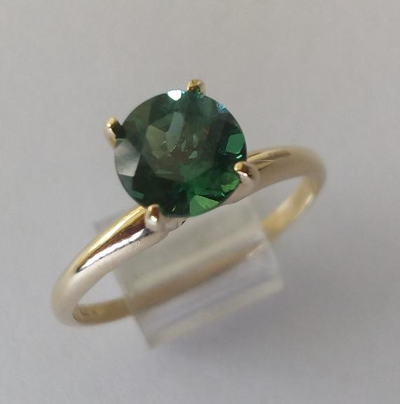 naturally faceted crystal ring raw green apatite ring