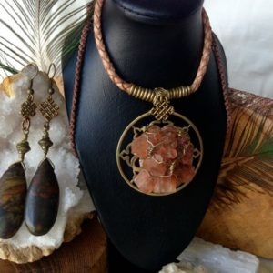 Shop Aragonite Necklaces! Aragonite Crystal Necklace and Jasper Andless Knot Earrings | Natural genuine Aragonite necklaces. Buy crystal jewelry, handmade handcrafted artisan jewelry for women.  Unique handmade gift ideas. #jewelry #beadednecklaces #beadedjewelry #gift #shopping #handmadejewelry #fashion #style #product #necklaces #affiliate #ad