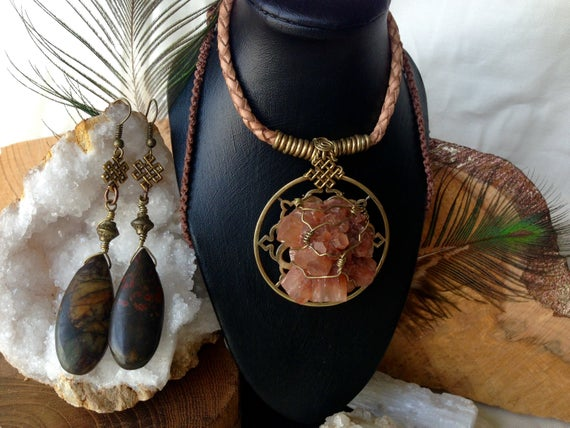 Aragonite Crystal Necklace And Jasper Andless Knot Earrings