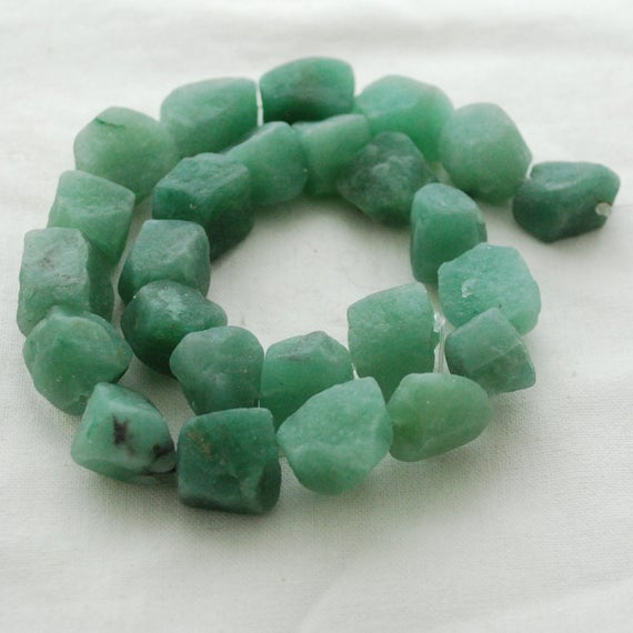 "Raw Natural Green Aventurine Semi-precious Gemstone Chunky Nugget Beads - Approx 13mm - 15mm X 18mm - 22mm - Approx 15"" Long Strand"